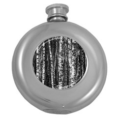 Birch Forest Trees Wood Natural Round Hip Flask (5 Oz)