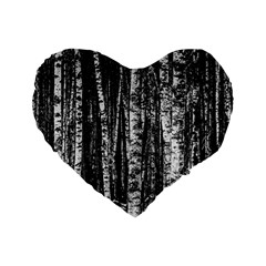 Birch Forest Trees Wood Natural Standard 16  Premium Flano Heart Shape Cushions by BangZart