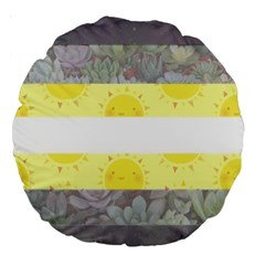 Nonbinary Flag Large 18  Premium Round Cushions by AnarchistTransPride