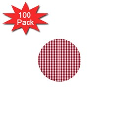 Usa Flag Red Blood Large Gingham Check 1  Mini Buttons (100 Pack)  by PodArtist