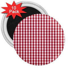 Usa Flag Red Blood Large Gingham Check 3  Magnets (10 Pack)  by PodArtist