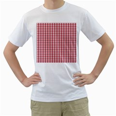 Usa Flag Red Blood Large Gingham Check Men s T Shirt (white) (two Sided) by PodArtist
