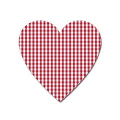 Usa Flag Red Blood Large Gingham Check Heart Magnet by PodArtist