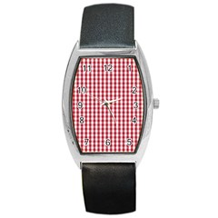 Usa Flag Red Blood Large Gingham Check Barrel Style Metal Watch by PodArtist
