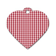 Usa Flag Red Blood Large Gingham Check Dog Tag Heart (one Side) by PodArtist