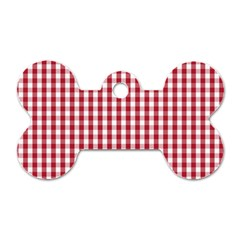 Usa Flag Red Blood Large Gingham Check Dog Tag Bone (one Side) by PodArtist