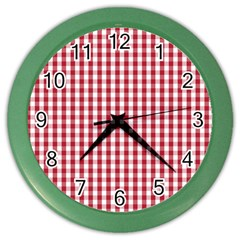 Usa Flag Red Blood Large Gingham Check Color Wall Clocks by PodArtist