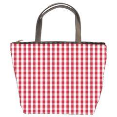 Usa Flag Red Blood Large Gingham Check Bucket Bags by PodArtist