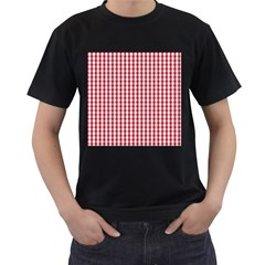 Usa Flag Red Blood Large Gingham Check Men s T Shirt (black) by PodArtist