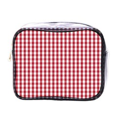 Usa Flag Red Blood Large Gingham Check Mini Toiletries Bags