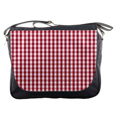 Usa Flag Red Blood Large Gingham Check Messenger Bags by PodArtist