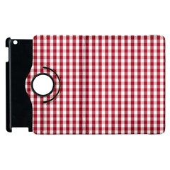Usa Flag Red Blood Large Gingham Check Apple Ipad 3/4 Flip 360 Case by PodArtist