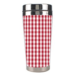 Usa Flag Red Blood Large Gingham Check Stainless Steel Travel Tumblers by PodArtist