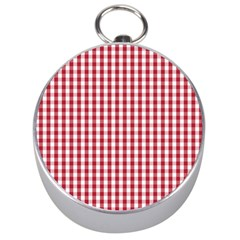 Usa Flag Red Blood Large Gingham Check Silver Compasses by PodArtist