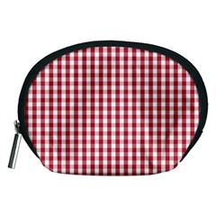 Usa Flag Red Blood Large Gingham Check Accessory Pouches (medium)  by PodArtist