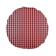 Usa Flag Red Blood Large Gingham Check Standard 15  Premium Flano Round Cushions