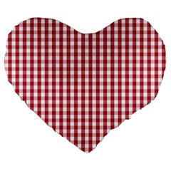 Usa Flag Red Blood Large Gingham Check Large 19  Premium Flano Heart Shape Cushions by PodArtist