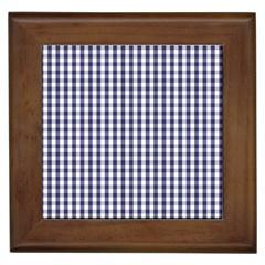 Usa Flag Blue Large Gingham Check Plaid  Framed Tiles by PodArtist