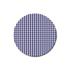 Usa Flag Blue Large Gingham Check Plaid  Rubber Round Coaster (4 Pack)  by PodArtist