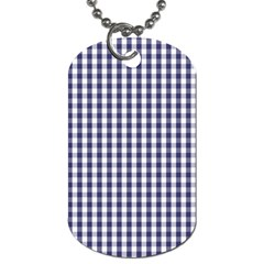 Usa Flag Blue Large Gingham Check Plaid  Dog Tag (two Sides) by PodArtist