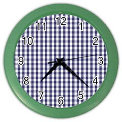 Usa Flag Blue Large Gingham Check Plaid  Color Wall Clocks by PodArtist