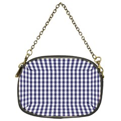 Usa Flag Blue Large Gingham Check Plaid  Chain Purses (one Side)  by PodArtist