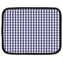 Usa Flag Blue Large Gingham Check Plaid  Netbook Case (xxl)  by PodArtist