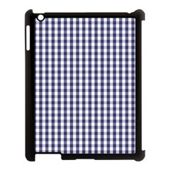 Usa Flag Blue Large Gingham Check Plaid  Apple Ipad 3/4 Case (black) by PodArtist