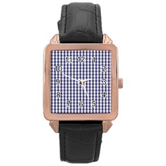 Usa Flag Blue Large Gingham Check Plaid  Rose Gold Leather Watch  by PodArtist