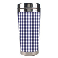 Usa Flag Blue Large Gingham Check Plaid  Stainless Steel Travel Tumblers by PodArtist