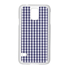 USA Flag Blue Large Gingham Check Plaid  Samsung Galaxy S5 Case (White) by PodArtist