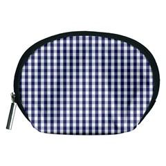 Usa Flag Blue Large Gingham Check Plaid  Accessory Pouches (medium)  by PodArtist