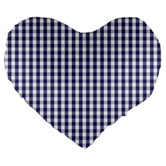 Usa Flag Blue Large Gingham Check Plaid  Large 19  Premium Flano Heart Shape Cushions by PodArtist