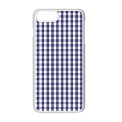 Usa Flag Blue Large Gingham Check Plaid  Apple Iphone 7 Plus White Seamless Case by PodArtist