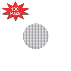 Christmas Silver Gingham Check Plaid 1  Mini Buttons (100 Pack)  by PodArtist