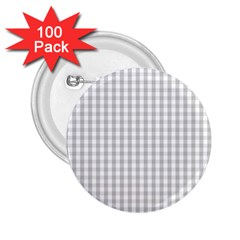 Christmas Silver Gingham Check Plaid 2 25  Buttons (100 Pack)  by PodArtist