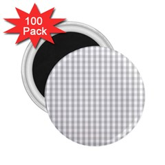 Christmas Silver Gingham Check Plaid 2 25  Magnets (100 Pack)  by PodArtist