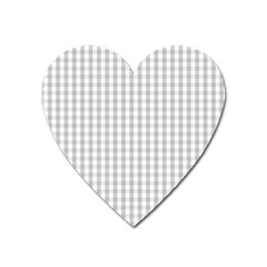 Christmas Silver Gingham Check Plaid Heart Magnet by PodArtist