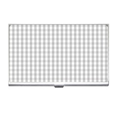 Christmas Silver Gingham Check Plaid Business Card Holders by PodArtist