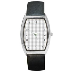 Christmas Silver Gingham Check Plaid Barrel Style Metal Watch