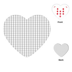 Christmas Silver Gingham Check Plaid Playing Cards (heart)  by PodArtist