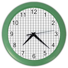 Christmas Silver Gingham Check Plaid Color Wall Clocks by PodArtist