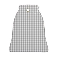 Christmas Silver Gingham Check Plaid Bell Ornament (two Sides)