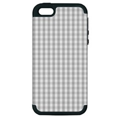 Christmas Silver Gingham Check Plaid Apple Iphone 5 Hardshell Case (pc+silicone) by PodArtist