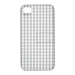 Christmas Silver Gingham Check Plaid Apple Iphone 4/4s Hardshell Case With Stand by PodArtist