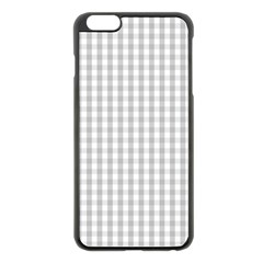 Christmas Silver Gingham Check Plaid Apple Iphone 6 Plus/6s Plus Black Enamel Case by PodArtist
