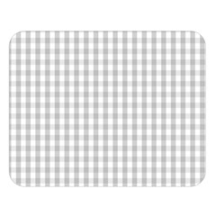 Christmas Silver Gingham Check Plaid Double Sided Flano Blanket (large)  by PodArtist