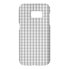 Christmas Silver Gingham Check Plaid Samsung Galaxy S7 Hardshell Case  by PodArtist