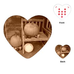 Pumpkins And Gourds Sepia Playing Cards (Heart)  by TailWags