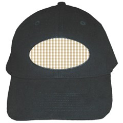 Christmas Gold Large Gingham Check Plaid Pattern Black Cap